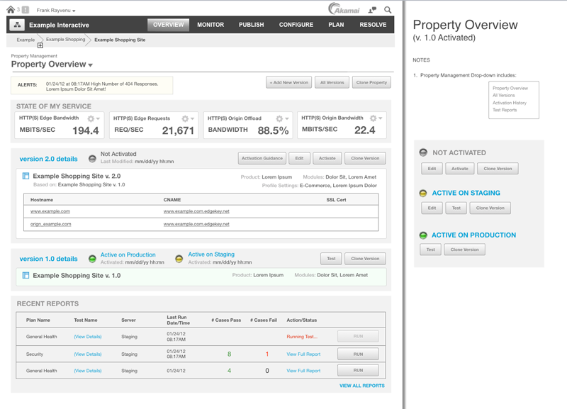 Akamai Property View Wireframe